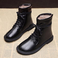 Women's PU Flat Heel Martin Boots Round Toe With Lace-up shoes