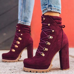 Women's Suede Chunky Heel Pumps Pointed Toe With Rivet Buckle shoes