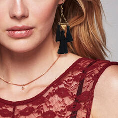 Alloy Cotton String With Tassels Earrings (Set of 2)