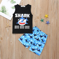 2-pieces Toddler Boy Letter Cartoon Print Cotton Set