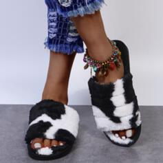 Women's Fake fur Flat Heel Sandals Peep Toe Slippers With Splice Color shoes
