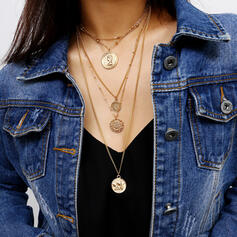 Vintage Layered Alloy With Coin Necklaces (Set of 5)