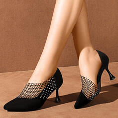 Women's PU Stiletto Heel Pumps Pointed Toe With Imitation Pearl Solid Color shoes