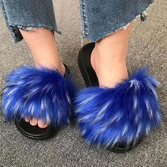 Women's Fake fur Flat Heel Sandals Peep Toe With Faux-Fur shoes