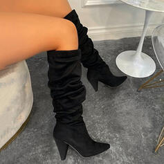 Women's Leatherette Chunky Heel Boots Knee High Boots Heels With Solid Color shoes