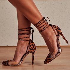 Women's Microfiber Stiletto Heel Pointed Toe With Animal Print Lace-up shoes