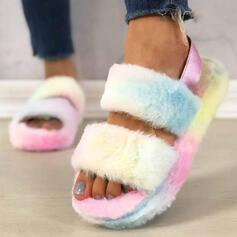 Women's Flat Heel Sandals Platform Peep Toe Slippers With Faux-Fur shoes