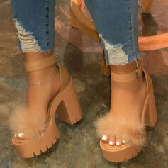 Women's Leatherette Chunky Heel Sandals Pumps Peep Toe Heels With Feather shoes