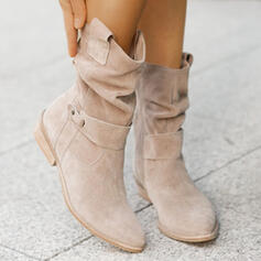Women's Suede Chunky Heel Boots Mid-Calf Boots With Buckle Zipper Solid Color shoes