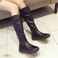 Women's Leatherette Flat Heel Mid-Calf Boots With Zipper Solid Color shoes