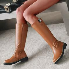 Women's PU Chunky Heel Mid-Calf Boots Round Toe With Zipper Solid Color shoes