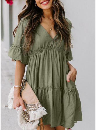 Solid 1/2 Sleeves Shift Above Knee Sexy/Casual Dresses