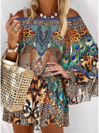 Print/Leopard Long Sleeves/Flare Sleeves Shift Above Knee Casual/Boho/Vacation Tunic Dresses