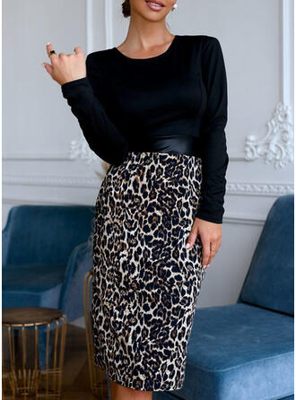 Leopard Long Sleeves Bodycon Knee Length Casual Dresses