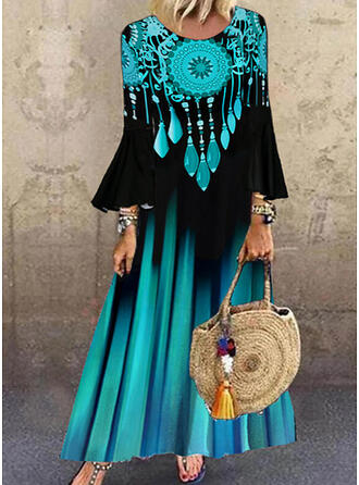 Print Long Sleeves/Flare Sleeves Shift Casual Maxi Dresses
