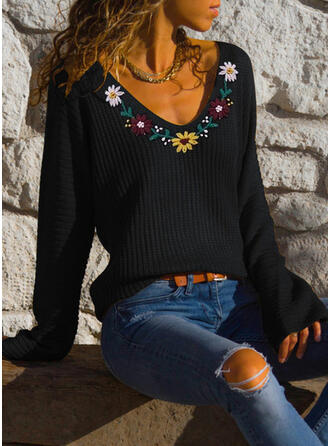 Embroidery Ribbed V-Neck Casual Sweaters