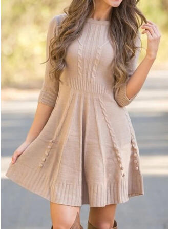 Solid 3/4 Sleeves A-line Above Knee Casual Sweater/Skater Dresses