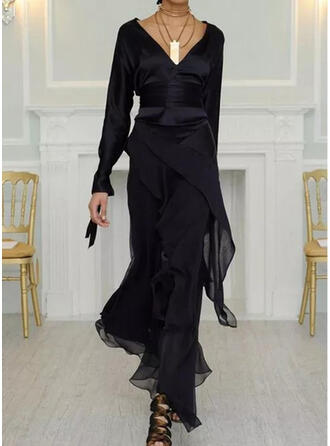 Solid Long Sleeves Sheath Casual/Elegant Maxi Dresses