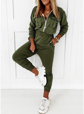 Solid V-Neck Long Sleeves Casual Plus Size Jumpsuit