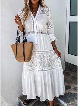 Lace/Solid Long Sleeves A-line Little Black/Casual/Elegant Maxi Dresses