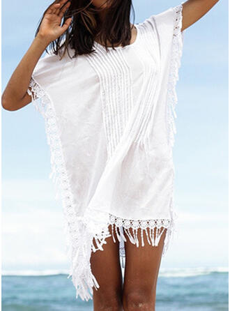 Ruffles Tassels Round Neck Bohemian Retro Casual Cover-ups Swimsuits