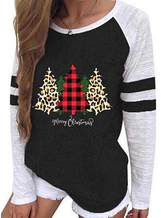 Color Block Leopard Round Neck Long Sleeves Casual Christmas T-shirts