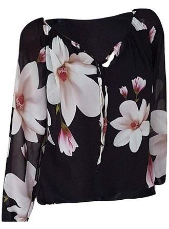 Floral V-Neck Long Sleeves Casual Blouses