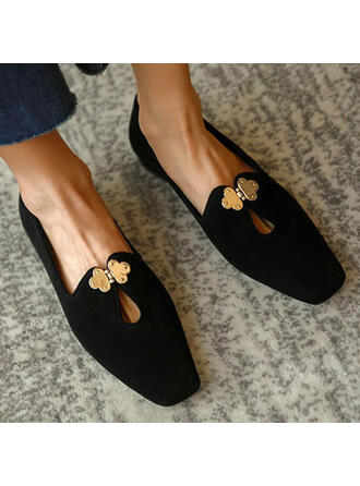 Women's Leatherette Flat Heel Flats Low Top Square Toe Slip On With Solid Color shoes