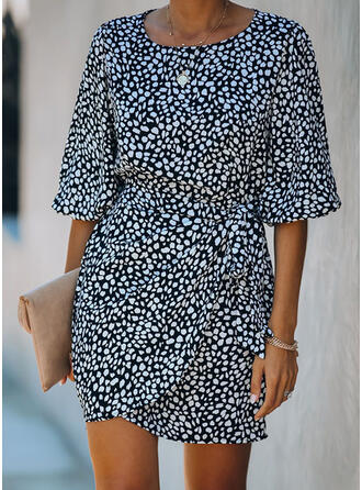 Print 1/2 Sleeves Sheath Above Knee Casual Dresses