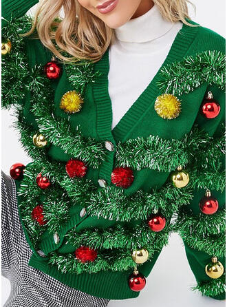 Polyester Plain Ugly Christmas Sweater