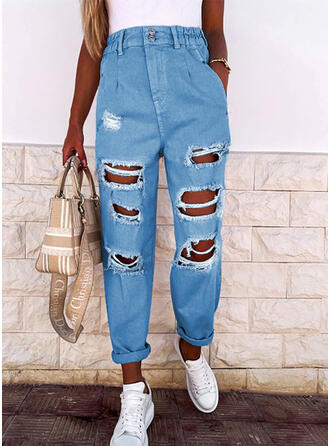 Solid Denim Long Casual Vacation Pocket Shirred Ripped Denim & Jeans