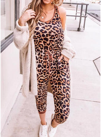 Print Animal Round Neck Sleeveless Casual Jumpsuit