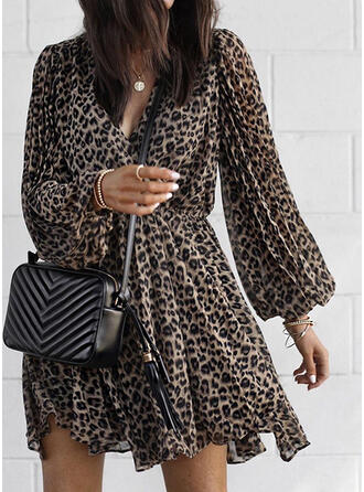 Leopard Long Sleeves/Lantern Sleeve A-line Above Knee Casual/Vacation Dresses