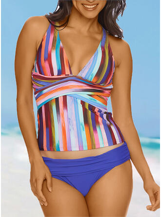 Stripe Splice color Strap V-Neck Eye-catching Casual Tankinis Swimsuits