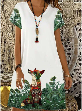 Animal Print Short Sleeves Shift Knee Length Casual/Vacation Dresses