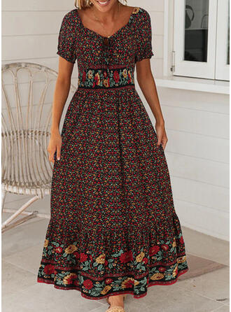 Print/Floral Short Sleeves/Puff Sleeves A-line Casual/Boho/Vacation Maxi Dresses