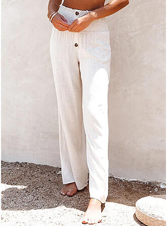 Solid Long Casual Vacation Plus Size Shirred Button Lounge Pants
