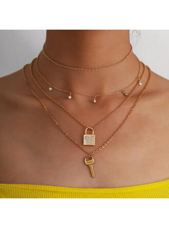 Fashionable Sexy Alloy With Beads Women's Ladies' Necklaces 4 PCS