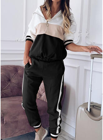 Striped Shirred Plus Size Casual Sporty Pants Suits