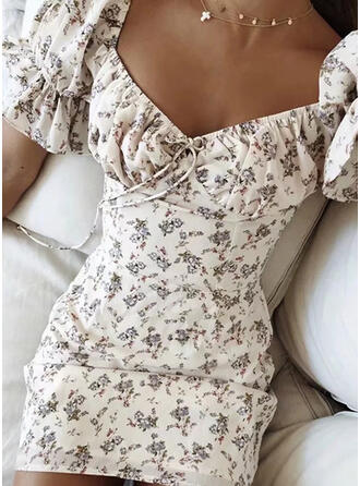 Print/Floral Short Sleeves Bodycon Above Knee Casual Dresses
