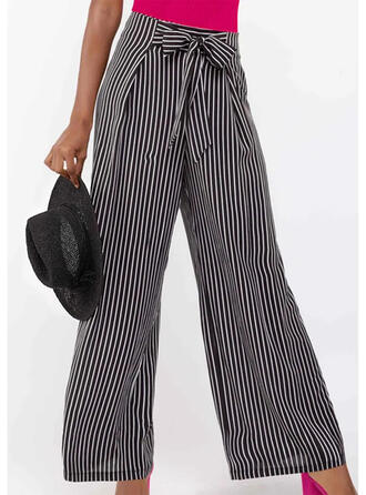 Striped Bowknot Elegant Striped Pants