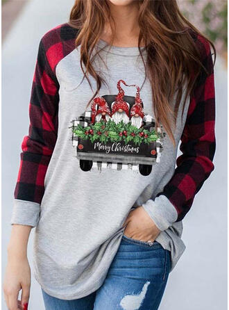 Print Color Block Round Neck Long Sleeves Casual Christmas T-shirts