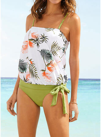 Tropical Print Knotted Strap Detachable Bohemian Cute Tankinis Swimsuits