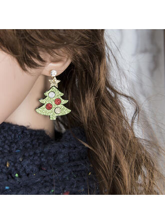 Colourful Classic Christmas Cloth Alloy With Rhinestone Women's Earrings 2 PCS