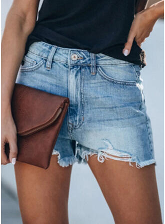 Patchwork Pockets Shirred Above Knee Casual Sexy Denim Shorts Denim & Jeans