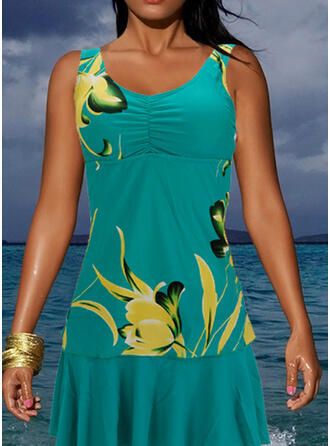 Splice color Tropical Print Ruffles Strap Round Neck Colorful Casual Tankinis Swimsuits