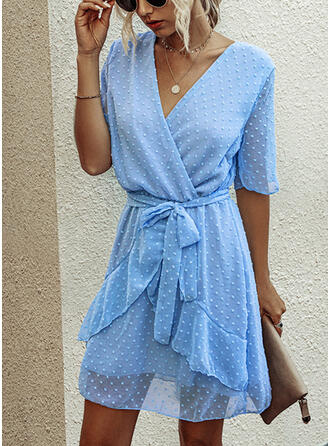 Solid 1/2 Sleeves A-line Above Knee Casual/Vacation Dresses