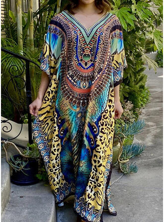 Print V-Neck Sexy Vintage Colorful Cover-ups Swimsuits