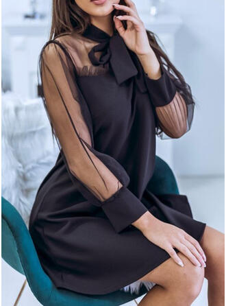 Lace/Solid Long Sleeves Shift Above Knee Little Black/Casual/Vacation Dresses