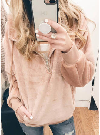 Solid Lapel Long Sleeves Sweatshirt